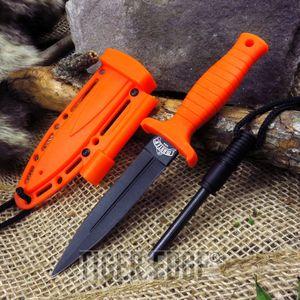 FIXED BLADE DAGGER Orange Firestarter Sheath Survival Tactical Boot Neck 1141OR
