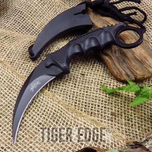 Black Tactical Combat Karambit Fixed-Blade Neck Knife W/ Lanyard Sheath