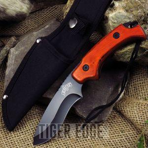 FIXED BLADE KNIFE MasterUSA Hunting Camping Curved Blade Wood Black MU-1144WD
