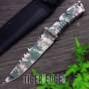 Fixed Blade Hunting Knife Digital Camo Survival Tactical Full Tang Saw Mu-1146Dg