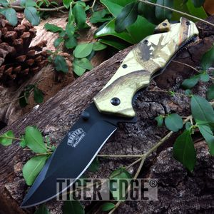 Real Fall Forest Leaf Camo Spring-Assisted Tactical Combat Folding Knife