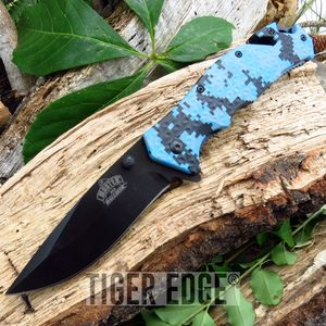 Digital Navy Camo Spring-Assisted Tactical Combat Folding Knife