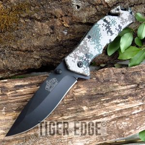 Digital Marine Camo Spring-Assisted Tactical Combat Folding Knife