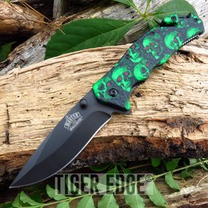 Zombie Green Skull Handle Spring-Assisted  Combat Folding Pocket Knife