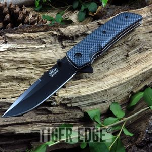 Carbon Fiber Style Drop Point Spring-Assisted Folding Pocket Knife