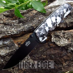 Grey Skull Zombie Spring-Assisted Folding Pocket Knife