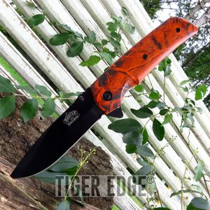 Orange Camo Spring-Assisted Folding Pocket Knife