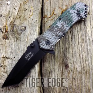 Army Digital Camo Black Tanto Serrated Spring-Assist Tactical Folding Knife