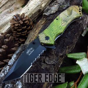 Fall Camo Black Tanto Serrated Spring-Assist Hunting Folding Pocket Knife