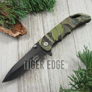 Spring-Assist Folding Pocket Knife Black Blade Fall Camo Hunter Tactical Edc Gc