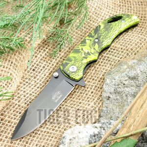 Spring-Assist Folding Pocket Knife Black Blade Yellow Camo Hunter Tactical Edc