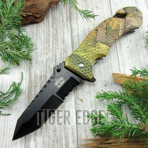 Spring-Assist Folding Pocket Knife Black Tanto Serrated Blade Camo Hunt Tactical