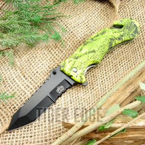 Spring-Assist Folding Pocket Knife Black Tanto Serrated Yellow Camo Tactical