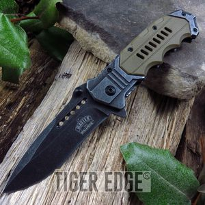 Spring-Assisted Folding Pocket Knife Tan Everyday Carry Military Tactical Blade