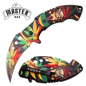 Spring-Assist Folding Pocket Knife | Tactical Karambit Marijuana Skull Mu-A107