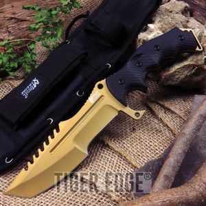 Fixed-Blade Tactical Knife   Mtech Heavy Duty Military Combat Gold Tanto Blade