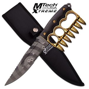 Fixed Blade Knife Mtech Gun Bullet Knuckle-Style Guard Tactical Combat Mx-8142Gd