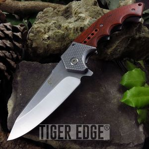 Mtech Large Wood Handle Silver Blade Spring-Assist Hunter Folding Knife