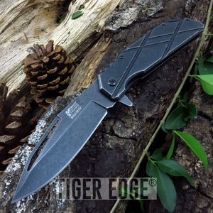Mtech Cross Pattern Stonewash Everyday Carry Spring-Assisted Folding Knife