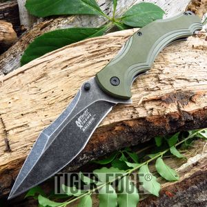 Spring-Assist Folding Pocket Knife | Mtech Tactical Gray Blade Green Army G10