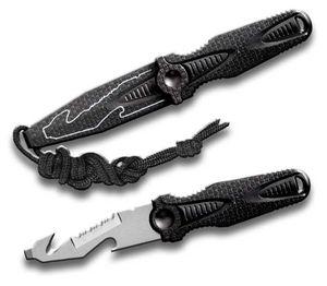 Neck Knife   Black Utility Blade - Flathead, Serrated, Gut Hook, Bottle Opener