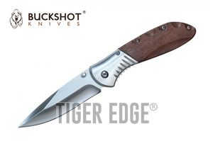 Spring-Assist Folding Pocket Knife Buckshot Brown Wood Hunter Skinner Blade EDC