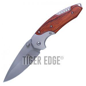 Spring-Assisted Folding Knife Buckshot Brown Wood Tactical Hunter Blue Blade