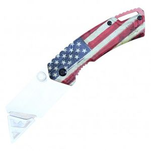 Folding Box Cutter Utility Knife | Interchangeable Blade American USA Flag PBWT1