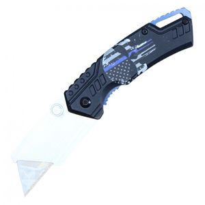 Folding Box Cutter Utility Knife | Interchangeable Blade Black Blue Edc Pbwt1Bl