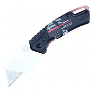 Folding Box Cutter Utility Knife | Interchangeable Blade Black Red Skull Pbwt1Rd