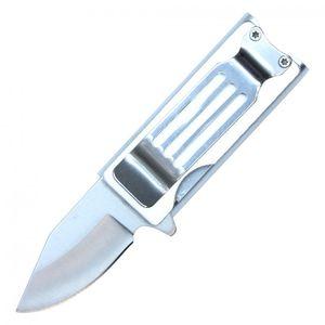 Lighter Holder Silver Folding Knife Black Stainless Steel Blade Money Clip, 4.5