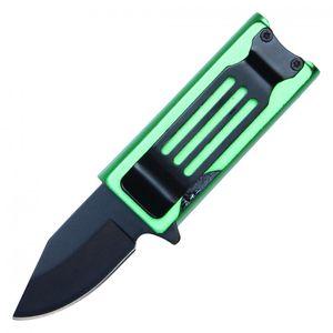 Lighter Holder Green Folding Knife Black Stainless Steel Blade Money Clip, 4.5