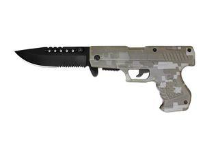 Spring-Assist Folding Knife | Black Serrated Blade Handgun Pistol Digital Camo