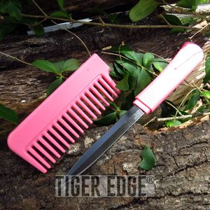 Classic Pink Hidden Blade Comb Knife Women's Self Defense Girl's Gift