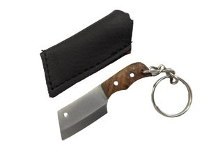 Mini Key Chain Cleaver Knife | Wood Handle Chef Fixed Blade w/ Sheath EDC Gift
