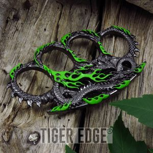 Green Fire Breathing Dragon Paperweight Brass Knuckle Self Defense