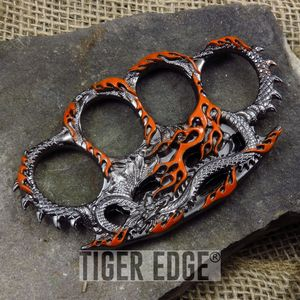 Orange Fire Breathing Dragon Paperweight Brass Knuckle Self Defense