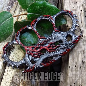 Red Fire Breathing Dragon Paperweight Brass Knuckle Self Defense