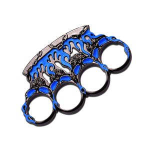 Blue and Gunmetal Flame Skull Brass Knuckle Paperweight