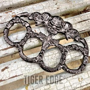 Brass Knuckle | Skull Dark Silver Grey Paperweight Goth Punk Biker Duster