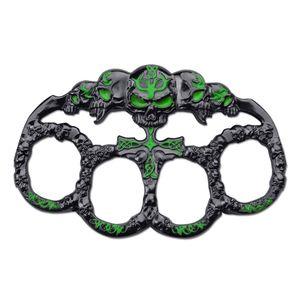 BRASS KNUCKLE | Skull Green Dark Silver Paperweight Goth Punk Biker Duster