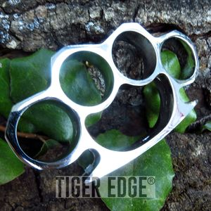 Silver Color Brass Knuckles Four Finger Belt Buckle Paperweight One Size