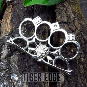 Casino Silver Wolf Brass Knuckle Self Defense Paperweight Gambler's Dice