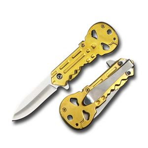 Spring-Assist Folding Pocket Knife - Metal Skull Key 3.5