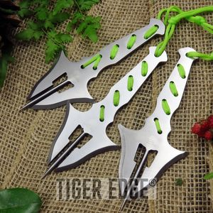 Perfect Point Silver Fantasy Manta Ray Spike Throwing Knife Set Triple 3-pc