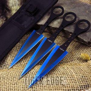 Throwing Knife Set | 3 Piece Blue Black Arrowhead Naruto Kunai Set With Sheath