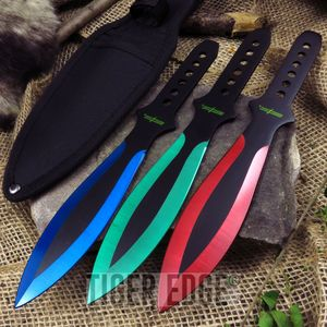Perfect Point Tri-Color Throwing Knife Set Multi Color Black Green Red Blue