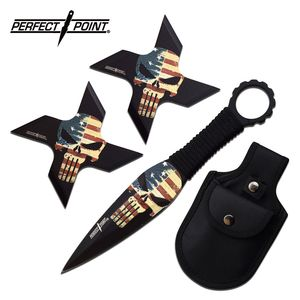 Throwing Knife Set | Perfect Point 3-Piece Throwing Star Combo Set Pp-127-3A