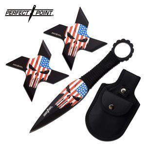 Throwing Knife Set | Perfect Point 3-Piece Throwing Star Combo Set PP-127-3B