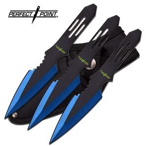 Perfect Point Triple Blue Black Dual Tone Throwing Knife Set Three Pack Gift